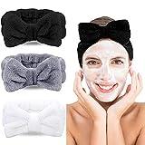 Wuudi Lot de 3 bandeaux cosmétiques pour femme - Noeud - Corail - Maquillage - Spa - Sport - Soin du visage - Bandeau élastique (blanc, gris, noir)