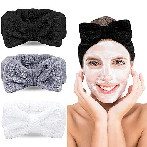 Wuudi Haarband 3er Set, kosmetik Stirnband für Damen, schleife Haarband, Koralle Make-up Stirnband, Spa Sport Gesichtpflege Haarband, elastisch Haarband (weiß, grau, schwarz)