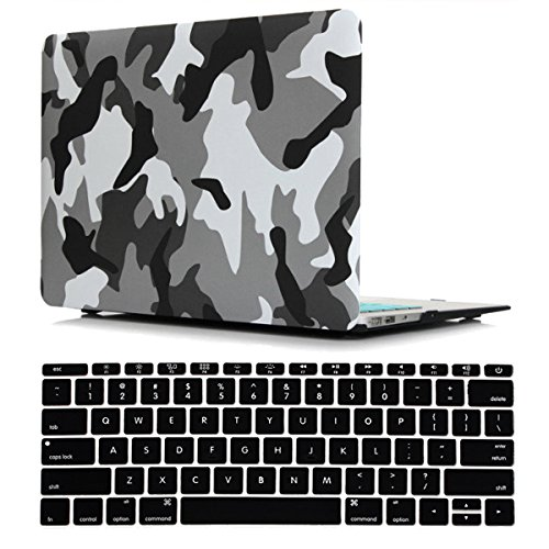 Old MacBook Air 13 Inch Case A1466/A1369 Release 2017/2015/2014/2013/2012/2011/2010, iZi Way Military Style Plastic Hard Shell Case with Black Keyboard Cover - Camouflage City Gray