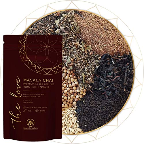 Sacred Lotus Love Masala Chai Tea | Loose Leaf Tea ( 15+ cups) | Premium + Authentic Indian Chai Latte Ingredients | 100% Pure + Natural | Organic + Sustainably Sourced | No Additives 57g
