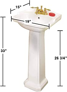 """Cloakroom 19"""" Small Pedestal Bathroom Sink White Grade A Porcelain With Overflow And Pre-Drilled Centerset Faucet Holes Renovators Supply Manufacturing"""