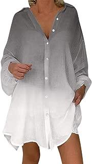 Women Blouse Autumn Casual Gradient Long Sleeve Long Shirt Irregular Hem Blouses Button Sunscreen Loose Fitting Tops