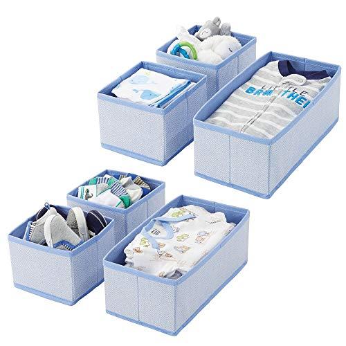 mDesign 6er-Set Aufbewahrungsbox – atmungsaktive Stoffbox mit Fischgrätmuster für Windeln, Lätzchen etc. – vielseitige Schubladen Organizer für das Kinderzimmer – blau