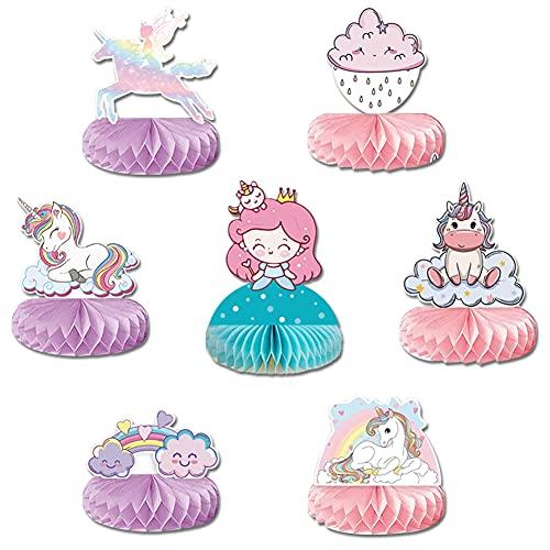 7 piezas de centro de mesa de unicornio arcoíris con diseño de unicornio en forma de panal en 3D, decoración de mesa de unicornio, pieza central para decoración de fiesta 🔥