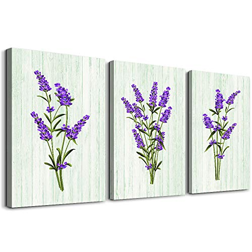 green plant purple painting flowers Wall Art for living room bathroom Wall Decor bedroom kitchen decoration,3 Pieces framed Canvas Prints artwork Modern Home decorations dining room posters picture