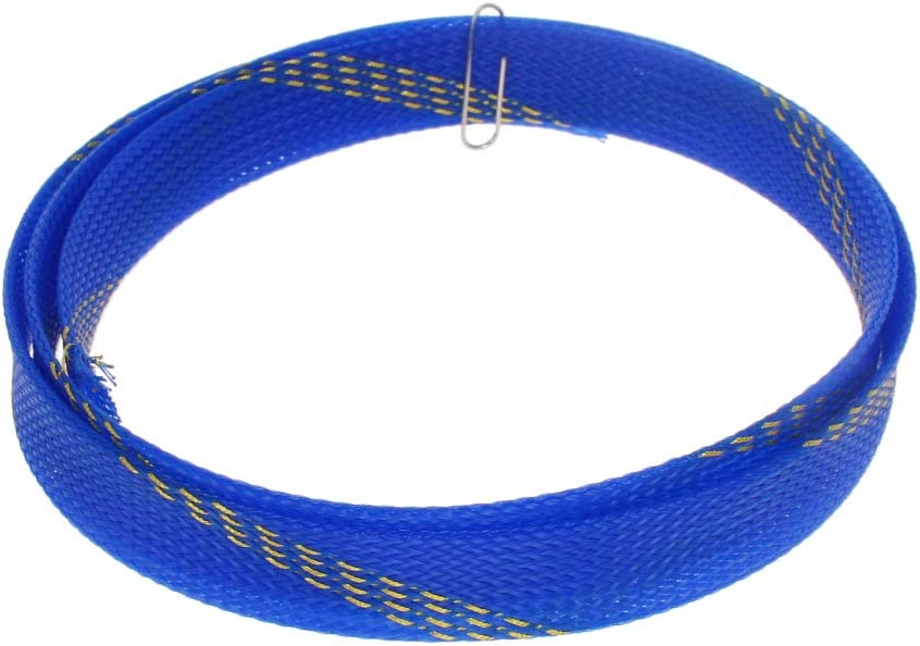 Othmro PET Braided Expandable Sleeving Wrap 4mm x 0.5m Blue Yellow Cable Management Sleeve Cord Organizer for Wrap Protect Cables