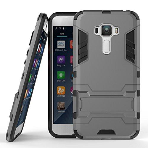 Tasche für Asus Zenfone 4 Selfie Pro ZD552KL Hülle, Ycloud das stärkste Handy Shock Proof Armor Dual Schutzabdeckung Hochfeste PC Kunststoffoberschale Shockproof mit Halterung Schutzabdeckung Grau