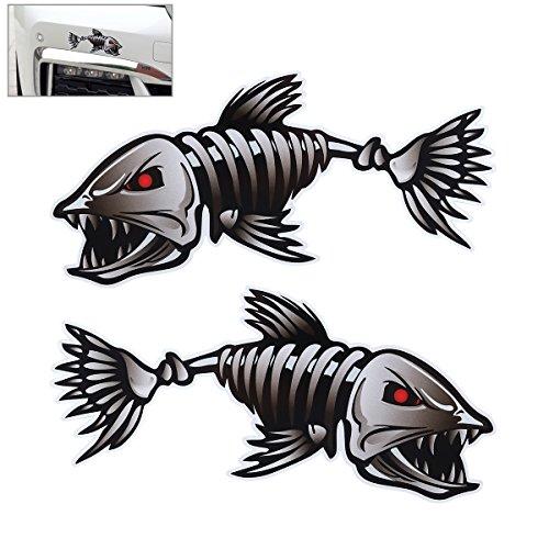 VORCOOL Packung mit 2 Skeleton Fischknochen Vinyl Aufkleber Sticker Kayak Fischerboot Car Graphics