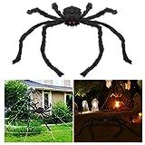 BESTOMZ Halloween Haarige Spinne 1 Meter Long Riesenspinne mit LED Glühenden Augen Gruselige Plüsch Spider für Halloween Dekoration(Black)