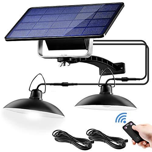 Lámpara Colgante Solar, Jior Llámpara Solar Exterior con Mando a Distancia y Pantalla Led IP65 Lámpara Solar Impermeable, Para Casa de Jardín, Balcón