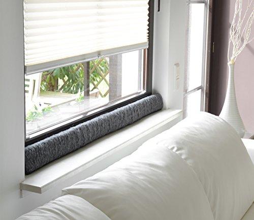 Zugluftstopper 100cm Fenster Schurwolle Türstopper Zugluftstop Anthrazit