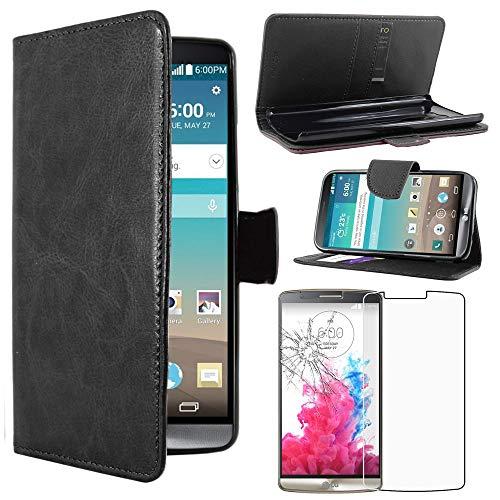 ebestStar - kompatibel mit LG G3 Hülle D855 Kunstleder Wallet Hülle Handyhülle [PU Leder], Kartenfächern, Standfunktion, Schwarz + Panzerglas Schutzfolie [G3: 145.5 x 74.6 x 9.1mm, 5.5'']