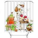 Set di tende da doccia Animale Simpatico cartone animato Cucciolo Cane di Natale Anno Torta Bambino Decorazione in tessuto poliestere stella cinese con 12 ganci Impermeabile lavabile 12 asole per bagn