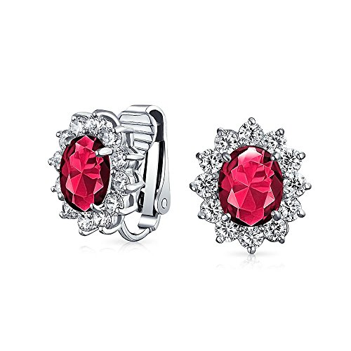 Red Oval Shape CZ Halo Stud Statement Clip On Earrings Simulated Ruby Cubic Zirconia Silver Plated Brass
