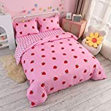 Feelyou Cute Strawberry Bedding Set Kawaii Japanese Anime Duvet Cover with 2 Pillowcases , Queen 100% Microfiber Reversible Comforter Cover for Girls Kids Toddler Soft Comfy Pink ( Queen , 3Pcs)