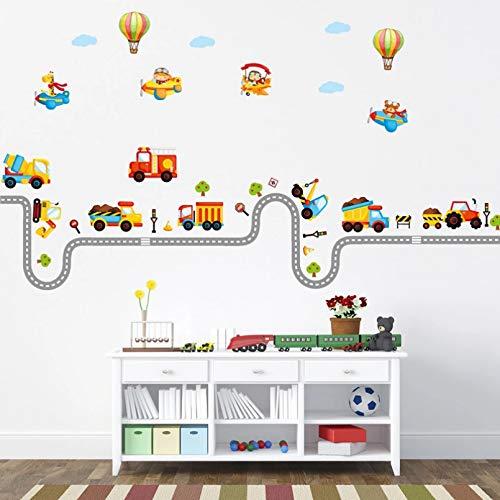HGFJG Cartoon Traffic Road Cars Wall Stickers Per La Camera Dei Bambini Boy Baby Room Decorazione Stickers Murali Per Soggiorno Adesivi Murali Fai Da Te