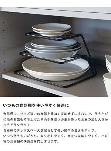 食器棚のお皿を一括収納山崎実業(ヤマザキジツギョウ)ディッシュストレージ3段tower(タワー)Bホワイト