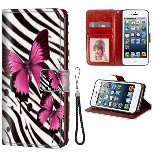 FAUNOW Funda para iPhone 5/5S/SE Funda tipo cartera con tapa para mujeres y niñas de piel de primera calidad