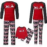Familien Pyjama Schlafanzug Weihnachten Eltern-Kind Familie Set Mama Dad Christmas Outfit Baby Kid Weihnachtsoutfit Nachtwäsche Eltern Kind T-Shirt mit Hirschmuster Hosenanzug für den...
