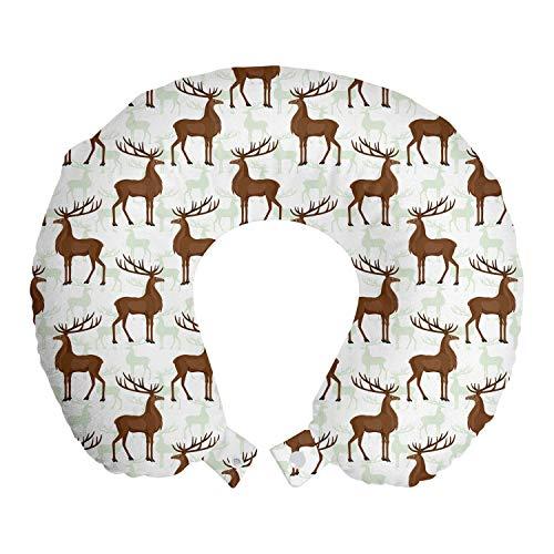 ABAKUHAUS Naturaleza Cojín de Viaje para Soporte de Cuello, La repetición de los Ciervos Siluetas, de Espuma con Memoria Respirable y Cómoda, 30x30 cm, Umber Pale Green White