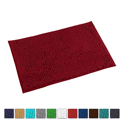 LuxUrux Bath Mat-Extra-Soft Plush Bath Shower Bathroom Rug,1'' Chenille Microfiber Material, Super Absorbent Shaggy Bath Rug. Machine Wash & Dry(20 x 30, Maroon-Red)