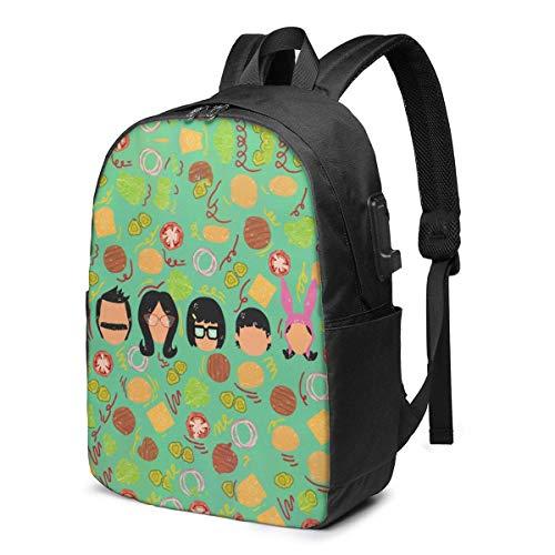 Lawenp Bob Burgers robuster Reiserucksack Schultasche Laptops Rucksack mit USB-Ladeanschluss für Männer Frauen