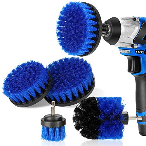 DAKCOS - Juego de 4 cepillos de taladro para limpieza de baño, suelos, baldosas de piscina, ladrillo, cerámica, mármol, lechada y coche