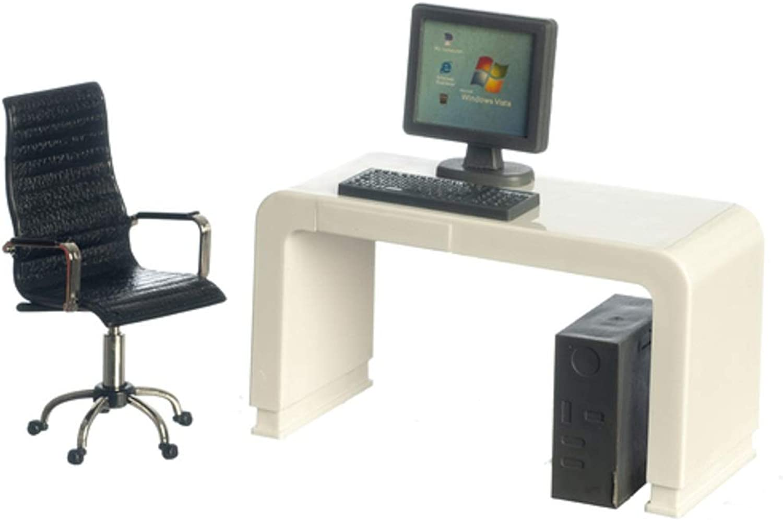 Melody Jane Dollhouse White Computer Desk & Black Swivel Chair Modern Office Furniture Set