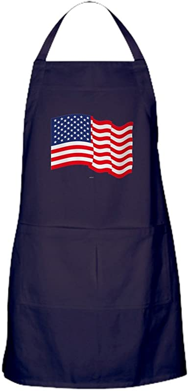 CafePress American Flag Waving Apron Dark Kitchen Apron With Pockets Grilling Apron Baking Apron