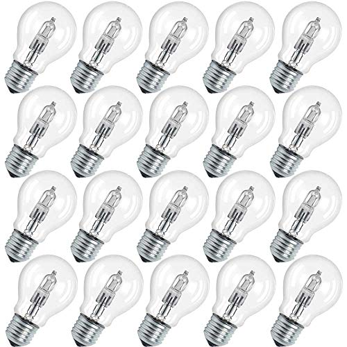Osram 64547 A CLA Lot de 20 ampoules halogènes Classic A Eco Culot E27, 230 V, blanc chaud, 70 W, intensité réglable