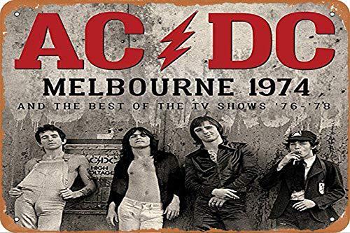 OSONA Acdc Melbourne 1974 And The Best Of The Tv Shows Rétro nostalgique Art traditionnel rouille couleur étain Logo publicité frappante décoration murale cadeau