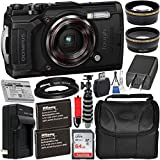 Olympus Tough TG-6 Digital Camera with Deluxe Accessory Bundle – Includes: SanDisk Ultra 64GB SDXC Memory Card + 2X Spare Batteries with Charger + Flexible Gripster + Adapter Tube + More (Black)