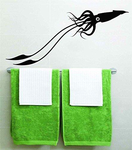 Calcomanía de vinilo para pared con diseño de calamar con un ojo y un mar, 20 x 25 cm