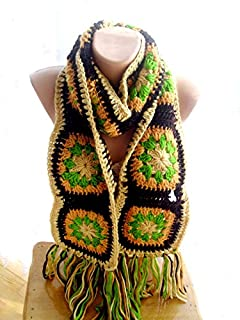 Hand Crocheted Wool Granny Square Scarf, Brown, beige, green Mauve, Boho Gypsy Chic Fashion Accent, Women Girl Accessory, Winter Holiday Gift