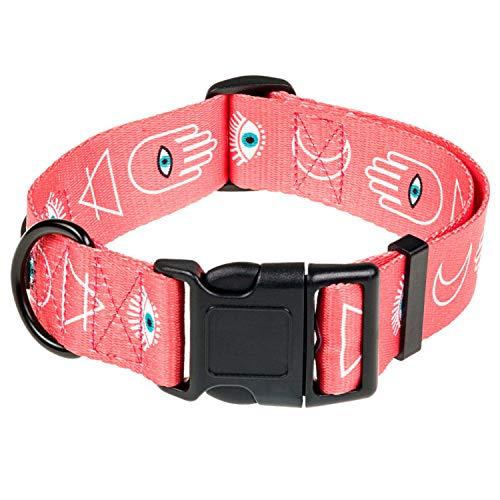 HAVNBERG Hundehalsband Gr. S Halsumfang 29cm - 39cm, Halsband für kleine Hunde oder Welpen, Breite 1,5cm, Welpenhalsband, lachs, Aztek