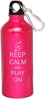 Hot Pink Waterpolo Keep Calm And Play On 20Oz Aluminum Sports Water Bottle Canteen Clip Keep Calm And Play Waterpolo