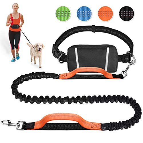 Pet Room Joggingleine Hunde für Laufen, Joggen, Wandern. Hunde Joggingleine mit bauchgurt. Jogging Hundeleine für große und mittelgroße Hunde. Elastische und reflektierende Laufleine