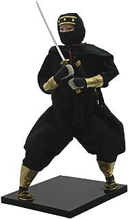 Dolity 30cm Vintage Japanese Ninja Samurai Doll Male Model Figurine with Black Clothes, Sword