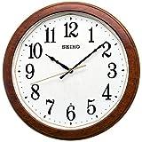 セイコークロック 電波 掛け時計 濃茶木目模様 光沢 直径33×4.6cm KX260B
