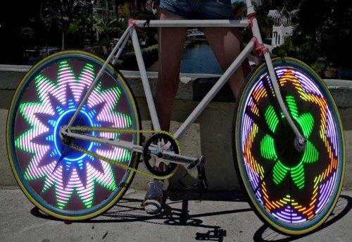 Cool Shiny Bike Bicycle Car Motorcycle RGB 16 LED RGB Color Flash Tire Valve Wheel Spoke Light