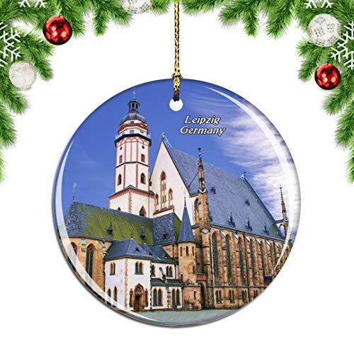 Weekino Deutschland St. Nicholas Church Leipzig Weihnachtsdekoration Christbaumkugel Hängender Weihnachtsbaum Anhänger Dekor City Travel Souvenir Collection Porzellan 2,85 Zoll