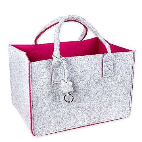 Schramm® Filztasche in 4 Farben wählbar 40x27x27cm Kaminholztasche Einkaufstasche Shopping Bag Aufbewahrungstasche Filz Tasche Filztaschen, Farbe:Pink