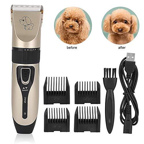 YWJH Tierhaarschneider Hunde Schermaschine, Wiederaufladbare Elektrische Hundeschermaschine Hundetrimmer für Hunde Katzen Haustier