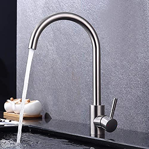 GAVAER Küchenarmatur, 360° Drehbar Wasserhahn Küche aus Edelstahl, Geeignet für Spültischarmatur und Mischbatterien für küche, Kaltes und Heißes Wasser Vorhanden, Kratzfest, Lebenslange Garantie.