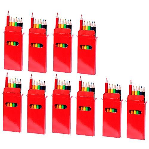 10er Set à 6 Buntstifte aus Holz in Schachtel aus glänzendem Karton für Überraschungstüten zum Kindergeburtstag, als Mal- und Buntstifte für Schule und Kita von notrash2003 (Rot)