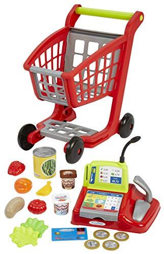 Jouets Ecoiffier – 1219 - Chariot de supermarché pour enfants + caisse enregistreuse + accessoires 100 % Chef – Dès 18 mois – Fabriqué en France
