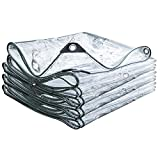 FOGUO Lona Impermeable Transparente5x9m, Lona Impermeable De Protección Exterior, Lona Transparente Ojales, con Ojetes Metálicos, Resistente A La Intemperie, 0.3 Mm De Espesor