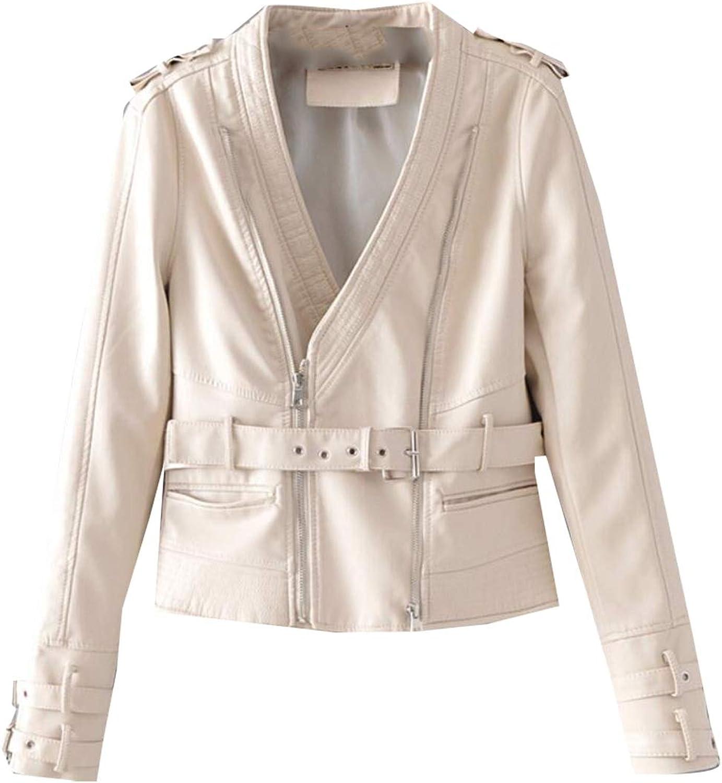 Gocgt Women Biker Faux Leather Motorcycle Short Coat Jacket Slim Zipper Jacket