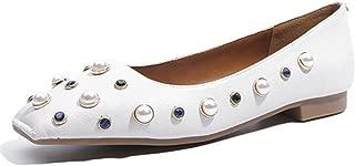 Nine Seven Women's Leather SquareToe Flat Flats