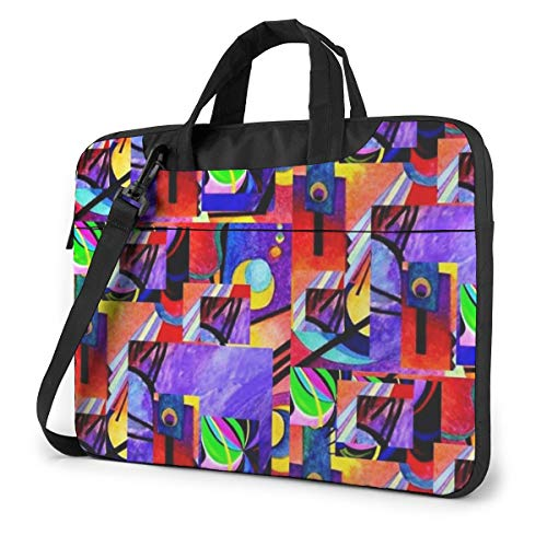 Laptop Bag 15.6 Inch Laptop Sleeve Case with Shoulder Straps & Handle/Notebook Computer Case Briefcase Compatible with MacBook/Acer/Asus/Hp - Long Purple Kandinsky Collage